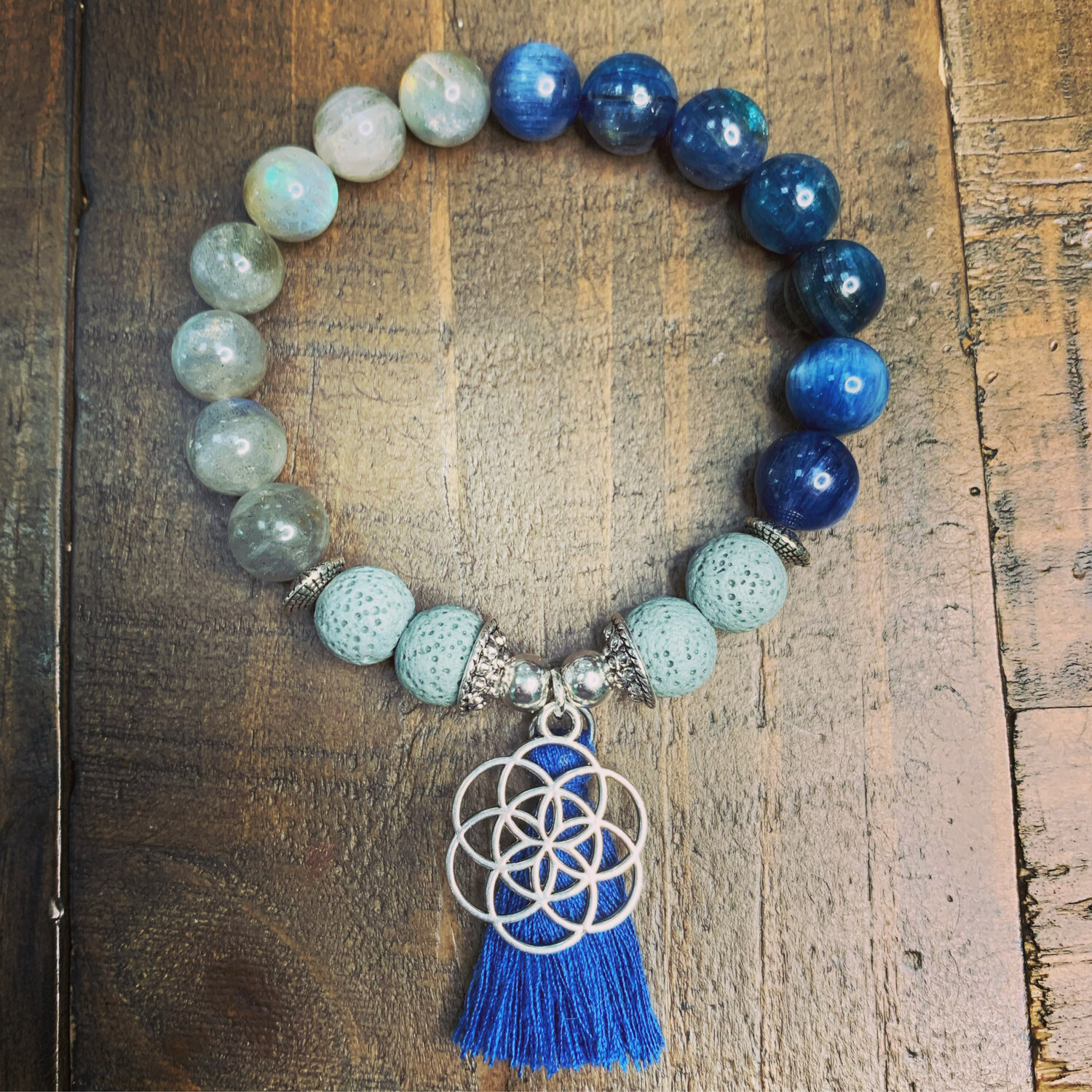 Kyanite & Labradorite-Flower of Life Bracelet