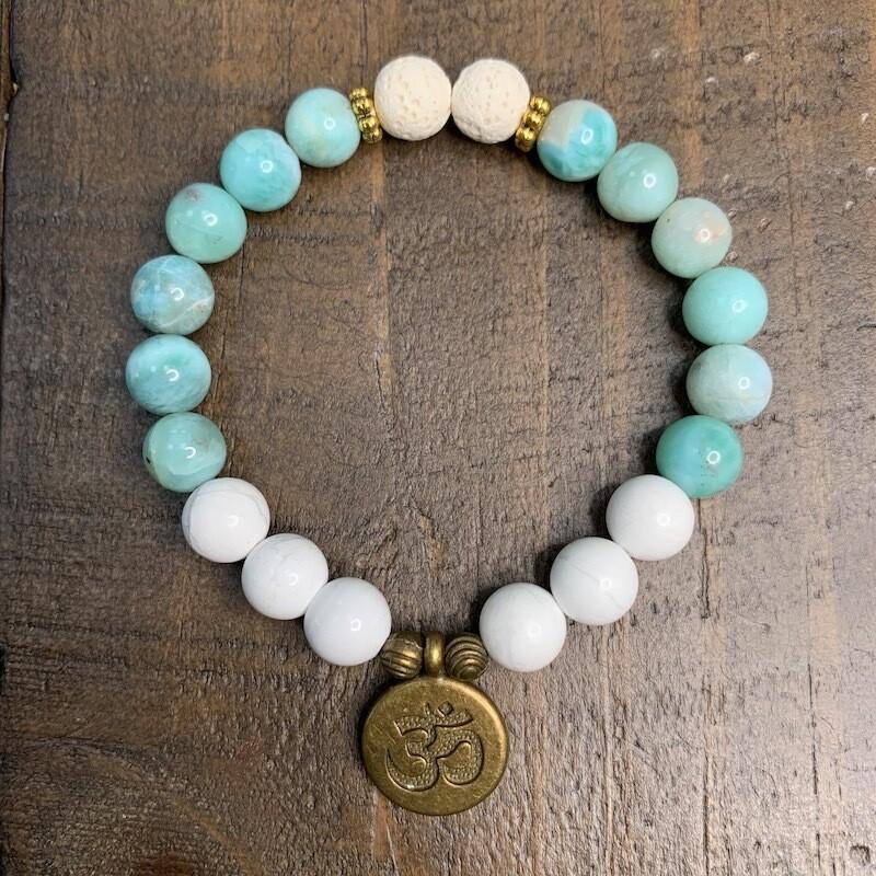 Larimar & Howlite Bracelet-Antique Gold Accents