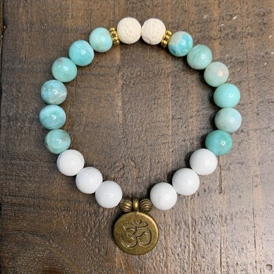 Larimar & Howlite Bracelet-Antique Gold Accents