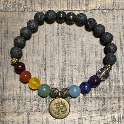 Antique Gold Om-Chakra Balancing Bracelets