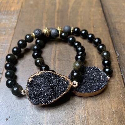 Gold & Black Obsidian Druzy Bracelet-10mm (7.75
