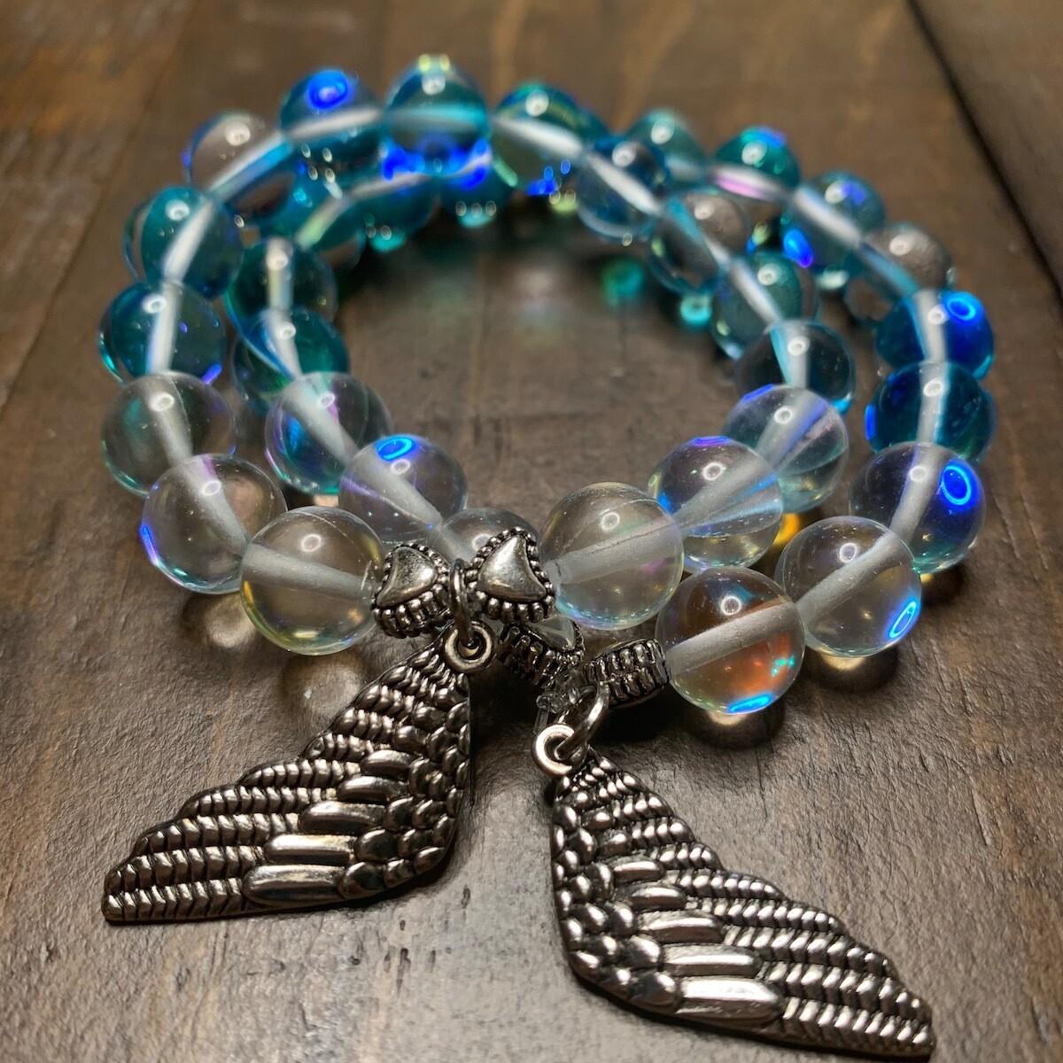 Aqua Angel & Aura Angel Quartz Crystal Healing Bracelet-10mm