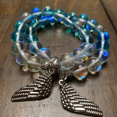 Aqua Angel & Aura Angel Quartz Crystal Healing Bracelet-10mm