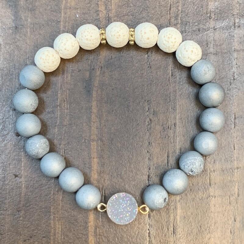 Grey Druzy & Lava Beads Bracelet-8mm