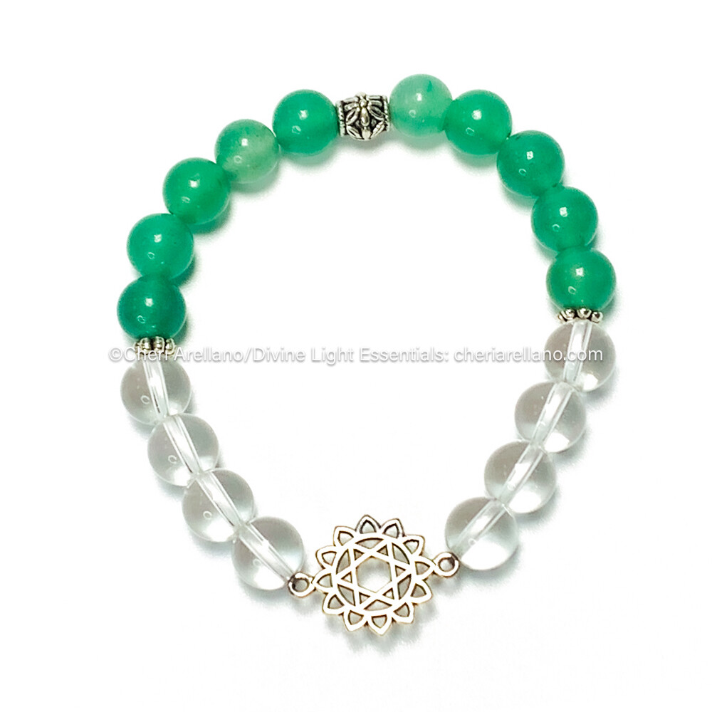 I am Love: Heart Chakra Balancing Bracelet-Green Aventurine and Quartz Crystal