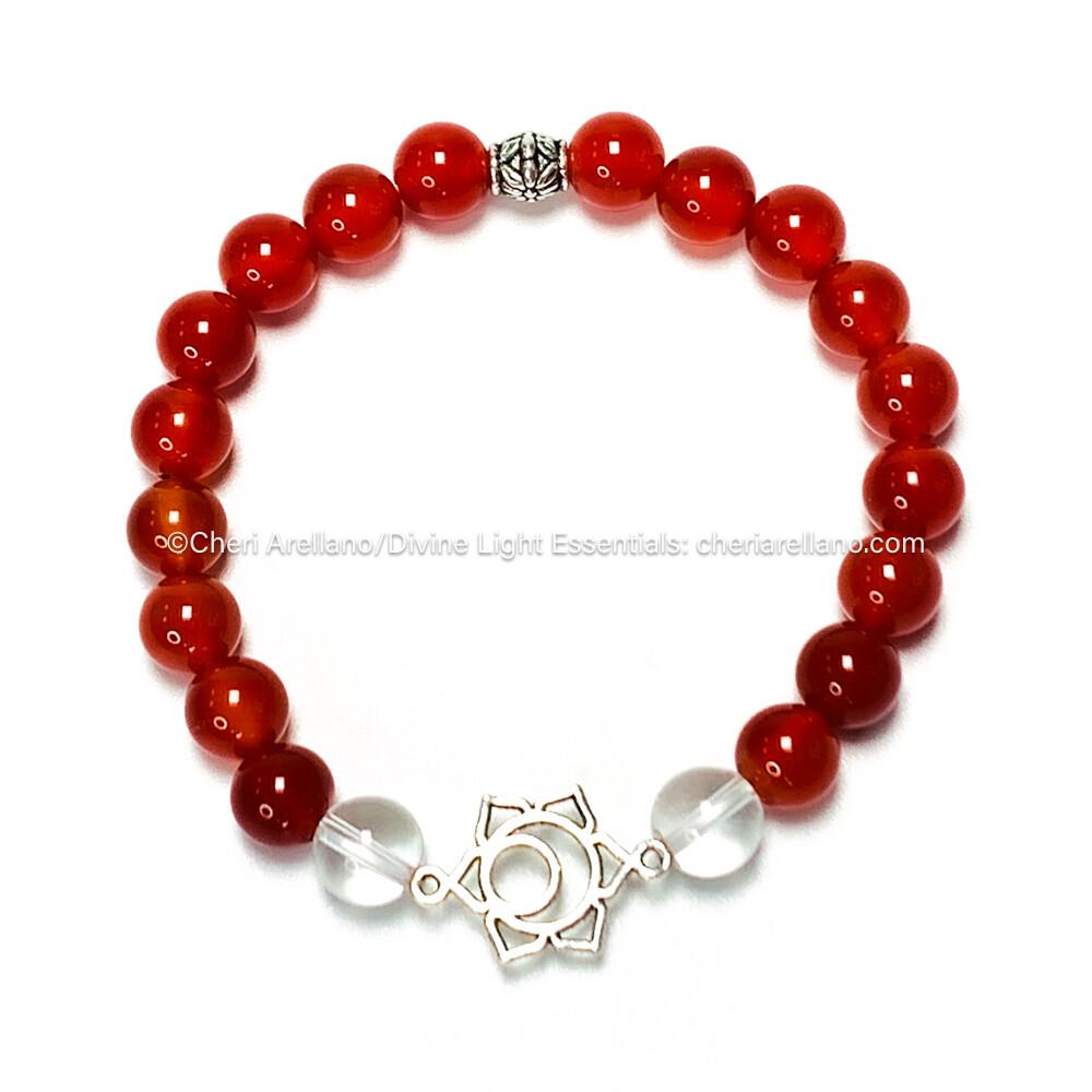 I am Sacred: Sacral Chakra Balancing Bracelet-Carnelian & Quartz Crystal