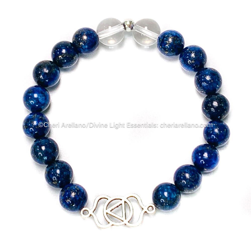 I am Intuitive: Third Eye Chakra Balancing Bracelet-Lapis Lazuli & Quartz Crystal