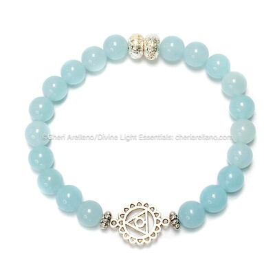I am Truth: Throat Chakra Balancing Bracelet-Aqua & Clear Quartz Crystal