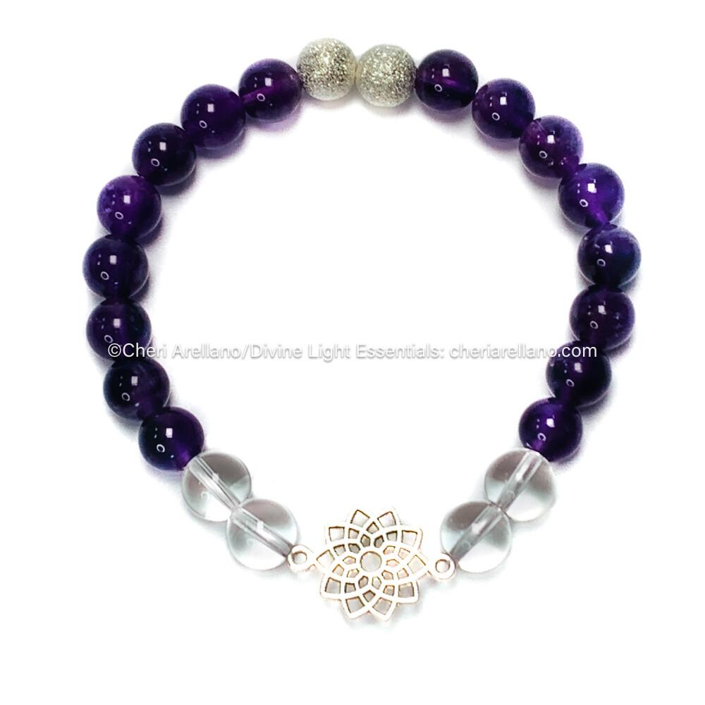 I am Divine: Crown Chakra Balancing Bracelet-Amethyst & Clear Quartz Crystal