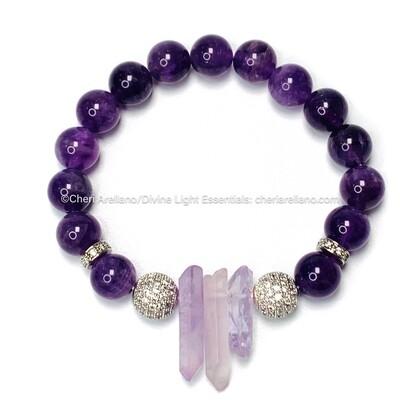 Amethyst Drop Crystals Bracelet