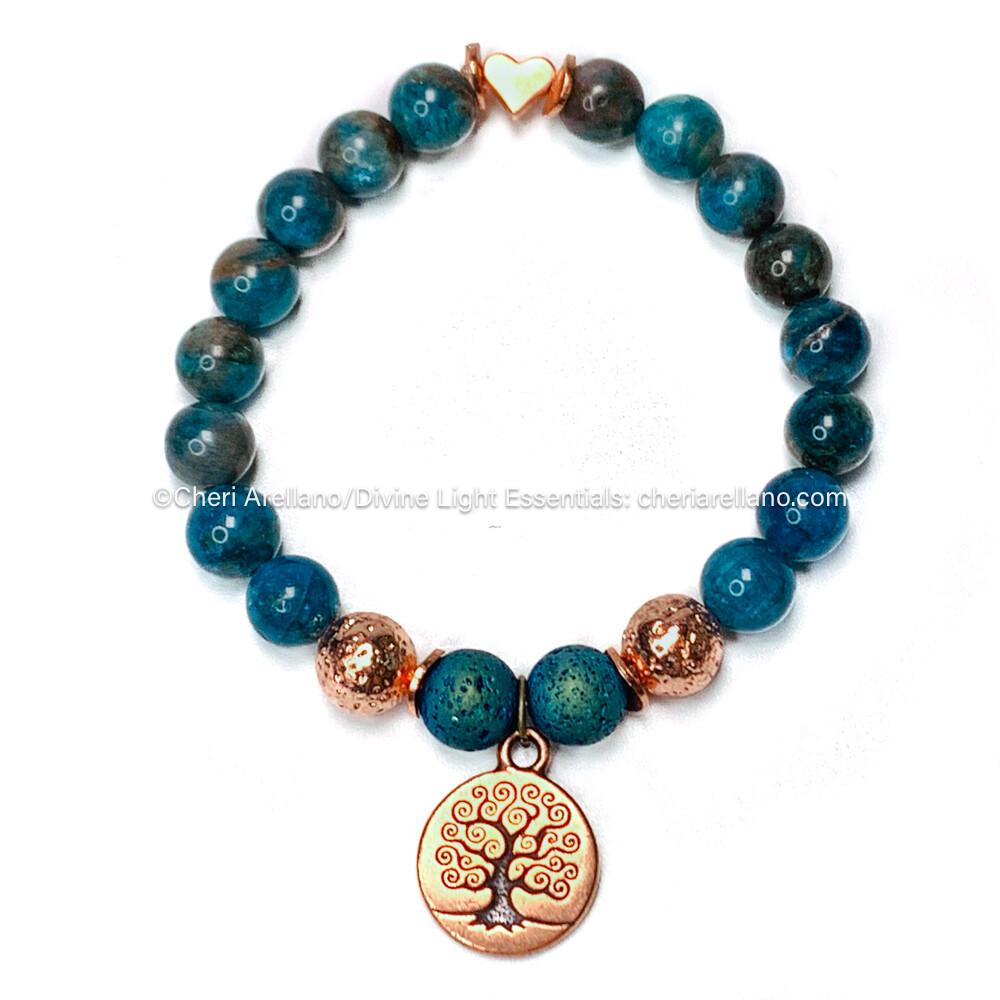 Apatite Bracelet: Copper Tree of Life & Heart