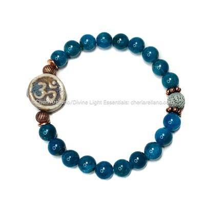 Apatite Bracelet: Om w/ Copper Accents
