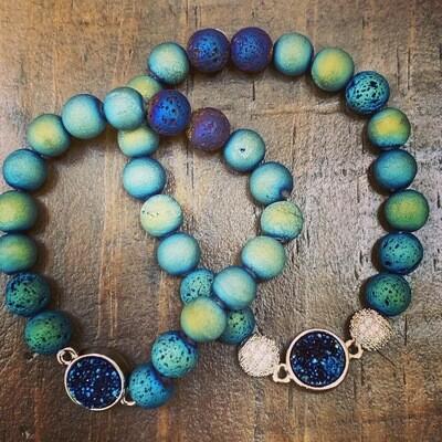 Druzy Pendant & Indigo Druzy Beads Bracelet-8mm