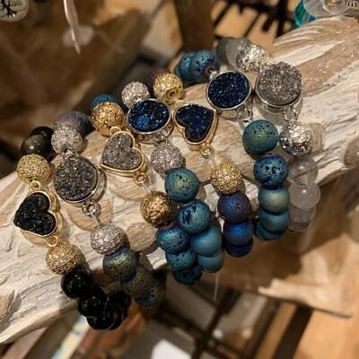 Druzy Pendant & Indigo Druzy Beads Bracelet
