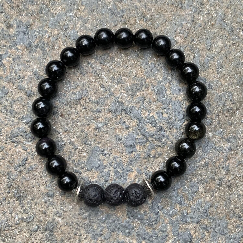 Black & Rainbow Obsidian Bracelet