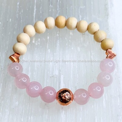 Rose Quartz Crystal & Wooden Beaded Bracelet