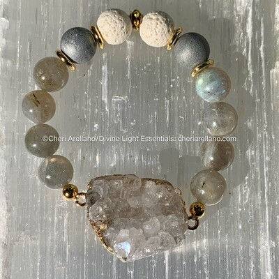Labradorite and Crystal Druzy Bracelet