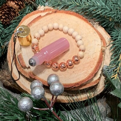 Rose Gold Lava, Wooden Beaded Bracelet & Elixir Gift Set