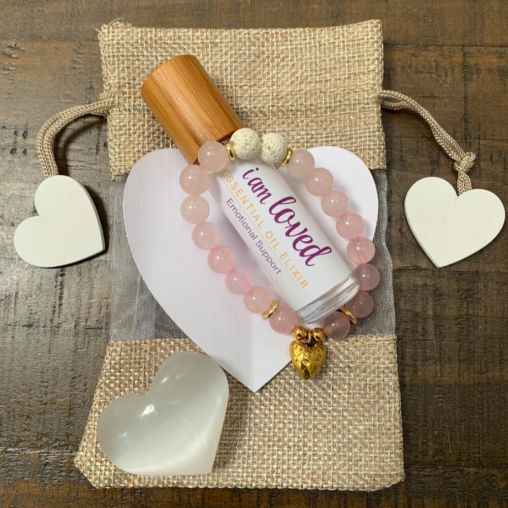I am Loved Valentine Gift Set: Gold Hammered Heart