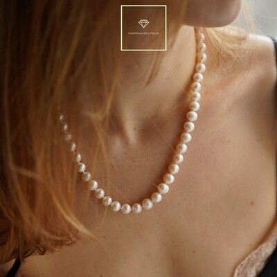 Natural pearl necklace, 8mm