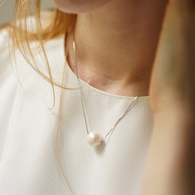 Silver plated necklace with natural pearl, 10mm