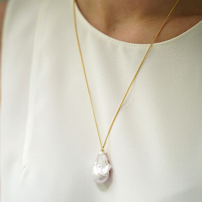 Gold plated necklace with natural Baroque pearl, 3-3.5cm