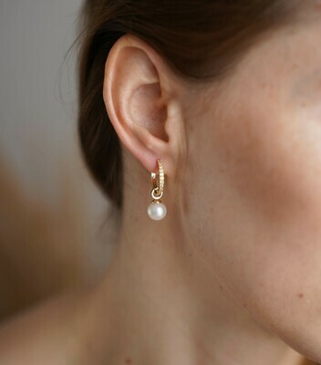 925 sterling silver gold plated earrings with natural pearls (2 in 1)
