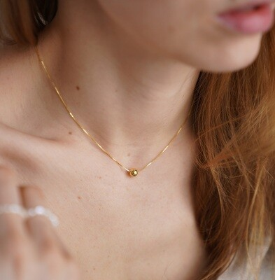 Gold plated necklace with gold plated ball