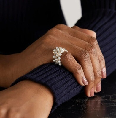 Natural pearl ring + gold plated details