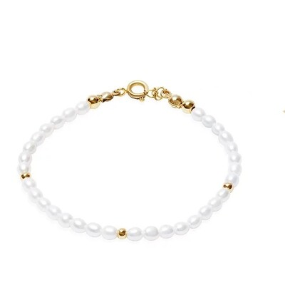 Pearl bracelet with gold plated / silver details