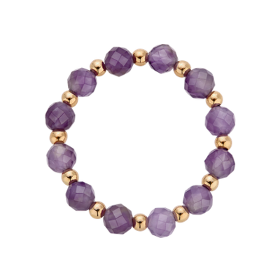 Amethyst ring + gold plated details