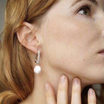 Silver plated earrings with natural pearls (2 in 1)