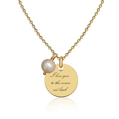 Gold plated pendant with Your engraved text + pearl