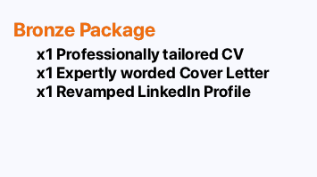 BRONZE PACKAGE: CV, Cover Letter and revamped LinkedIn Profile