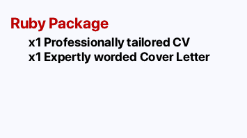 RUBY PACKAGE: CV and Cover Letter