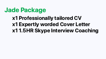 JAYDE PACKAGE: CV, Cover Letter and 1.5 hour Skype interview coaching session