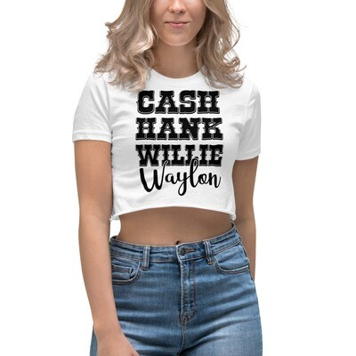 Cash Hank Willie Waylon Women's Crop Top