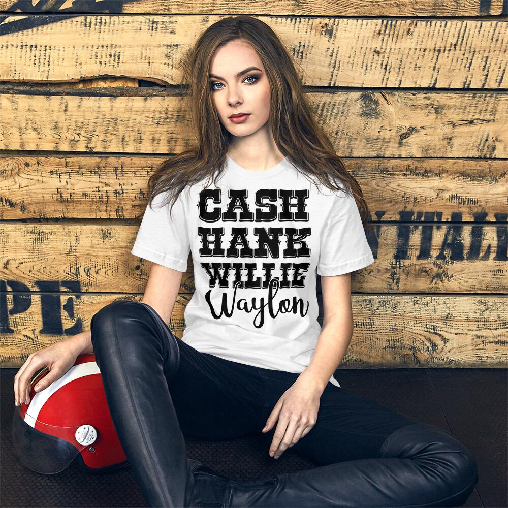 Cash Hank Willie Waylon Short-Sleeve Unisex T-Shirt/ Bella + Canvas 3001
