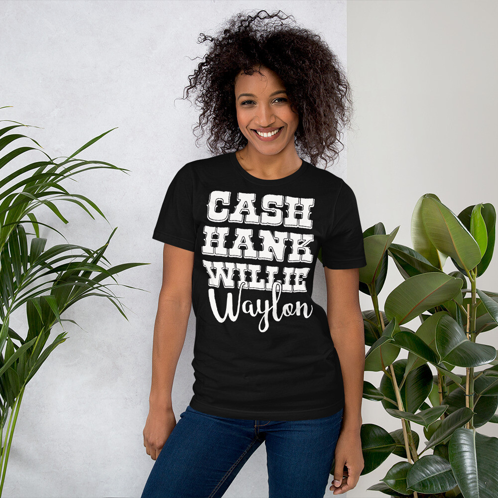 Cash Hank Willie Waylon Short-Sleeve Unisex T-Shirt/ Bella + Canvas 3001