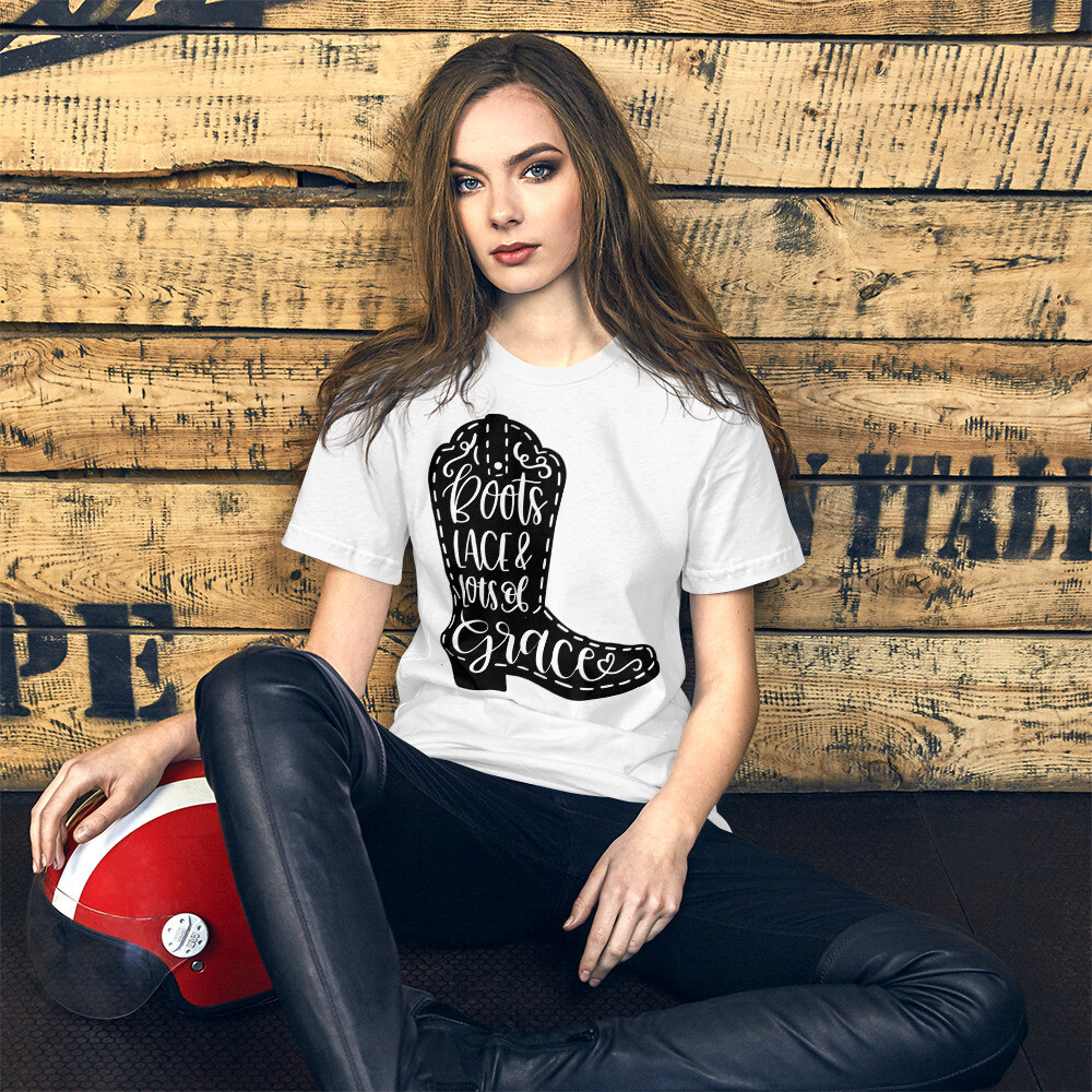 Boots Lace And Lots Of Grace Short-Sleeve Unisex T-Shirt/ Bella + Canvas 3001