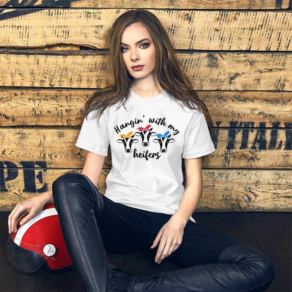 Hangin' With My Heifers Short-Sleeve Unisex T-Shirt/ Bella + Canvas 3001