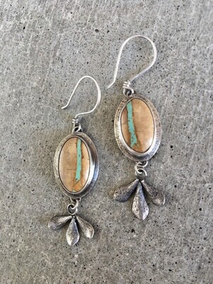 Royston Ribbon Earrings With Succulent Accents