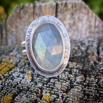 Labradorite Double Band Ring
