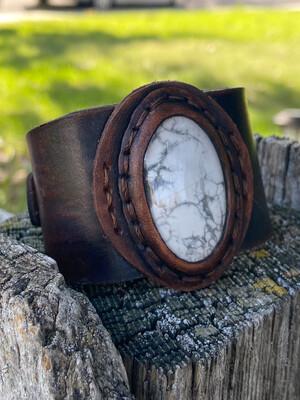 Howlite Leather Cuff Bracelet