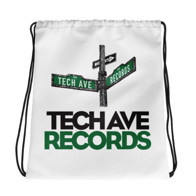 White Drawstring bag - TAR Black and Green Logo