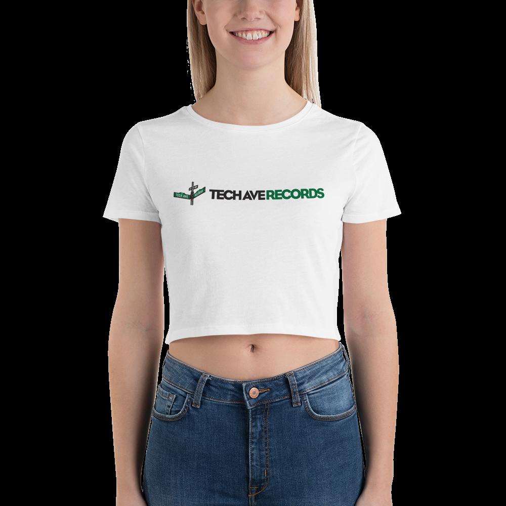 Women's Crop Tee - TAR Green and Black Logo
