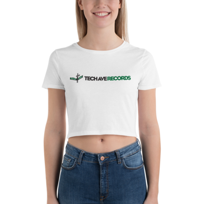 Women's Crop Tee - TAR Green and Black Logo
