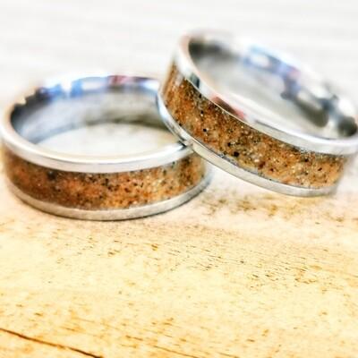 Llangennith Sand Steel 8mm Ring