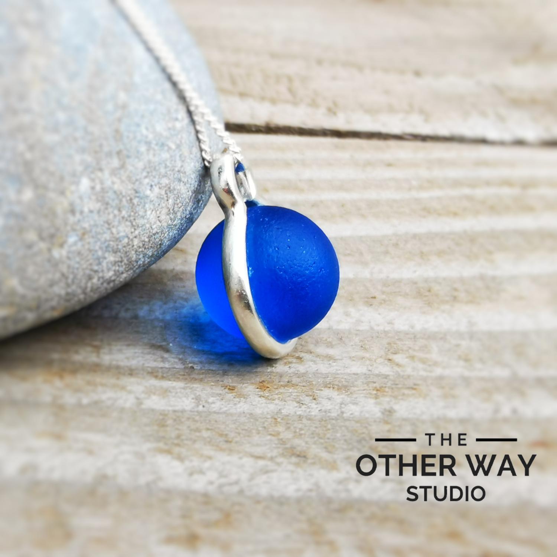 Handmade Silver Pendant with Cobalt Glass Orb