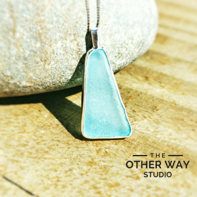 Handmade Silver Pendant with Aqua Sea Glass